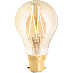 4lite WiZ 4lite WiZ LED A60 Smart Filament Wi-Fi Bulb 6.5W BC 720lm Amber - 49882 - from Toolstation