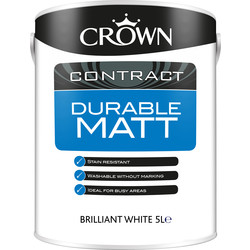 Crown Contract Crown Contract Durable Matt Emulsion 5L Brilliant White - 50015 - from Toolstation