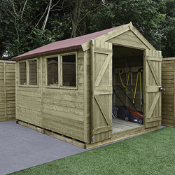 Forest Forest Garden Tongue And Groove Pressure Treated Shed - Double Door 10' x 8' - 50126 - from Toolstation