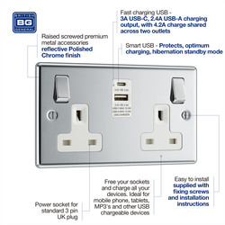 BG Polished Chrome 13A Switched Socket + A & C Type USB