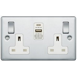 BG Polished Chrome 13A Switched Socket + A & C Type USB