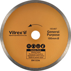Vitrex Vitrex Tile & Ceramic Cutting Diamond Blade 180mm Gen Purpose - 50295 - from Toolstation