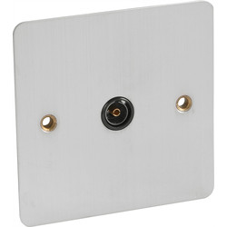 Axiom Flat Plate Satin Chrome TV Socket Outlet Single - 50372 - from Toolstation