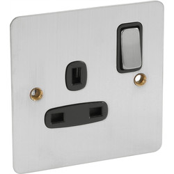 Flat Plate Satin Chrome 13A Switched Socket 1 Gang SP - 50464 - from Toolstation