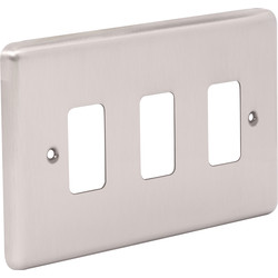 Wessex Wiring Wessex Brushed Stainless Steel Grid Front Plate 3 Gang - 50544 - from Toolstation