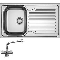 Franke Franke Antea Reversible Stainless Steel Kitchen Sink with Danube Mono Mixer Tap Single Bowl - 51250 - from Toolstation