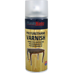 Plastikote Plastikote Polyurethane Varnish Clear Spray Paint 400ml Satin - 51328 - from Toolstation