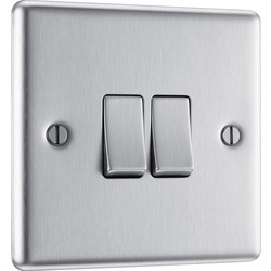BG BG Brushed Steel 10A Switch 2 Gang 2 Way - 51487 - from Toolstation