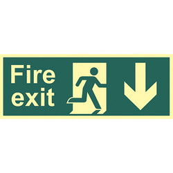 Photoluminescent Fire Exit Sign Fire Exit Down - 51504 - from Toolstation