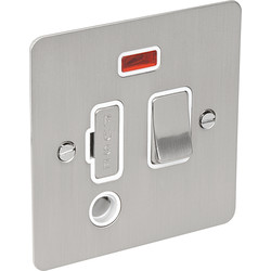 Flat Plate Satin Chrome Fused Spur 13A Switched + Neon + Flex Outlet - 51543 - from Toolstation