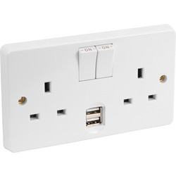 Crabtree Crabtree 2G USB Switched Socket 2 Gang - 51727 - from Toolstation