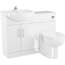 Cassellie 2 Door Semi-Recessed Bathroom Unit Gloss White - 51745 - from Toolstation