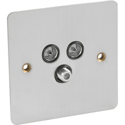 Axiom Flat Plate Satin Chrome Satellite Socket Outlet Satellite/TV/FM - 51829 - from Toolstation