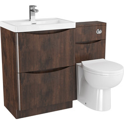 Cassellie 2 Drawer Curve Bathroom Unit Chestnut - 51883 - from Toolstation