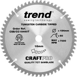 Craft Trend Craft Thin Kerf Circular Saw Blade 184 x 60T x 16mm CSB/CC18460T - 51903 - from Toolstation