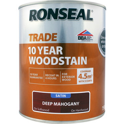 Ronseal Ronseal 10 Year Exterior Satin Woodstain 750ml Deep Mahogany - 51939 - from Toolstation