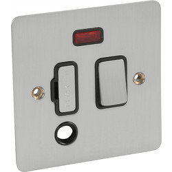 Axiom Flat Plate Satin Chrome Fused Spur 13A Switched + Neon + Flex Outlet - 52038 - from Toolstation