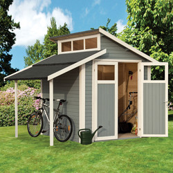 Rowlinson Rowlinson Skylight Shed With Lean-To Painted Light Grey 7' x 10' - 52220 - from Toolstation