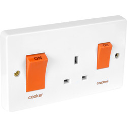Crabtree Crabtree 45A Cooker Unit 45A DP Switch & 13A Socket - 52242 - from Toolstation