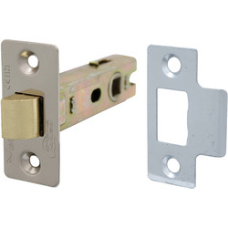Unbranded Fire Door Bolt Through Tubular Latch 75mm Nickel Plate - 52375 - from Toolstation