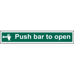 Fire Safety Sign Push Bar To Open 600x100 - 52483 - from Toolstation