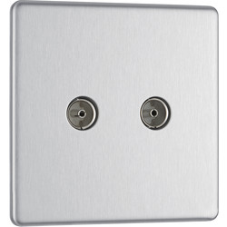 BG BG Screwless Flat Plate Brushed Stainless Steel TV Sockets 2 Gang Coaxial - 52530 - from Toolstation