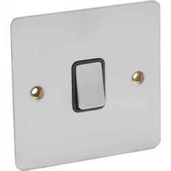 Axiom Flat Plate Satin Chrome 10A Switch 1 Gang 1 Way - 52833 - from Toolstation