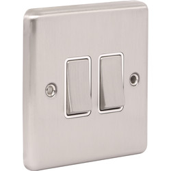 Wessex Wiring Wessex Brushed Stainless Steel Switch 2 Gang 2 Way - 52884 - from Toolstation