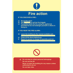 Photoluminescent Fire Action Procedure Sign Text Only - 53025 - from Toolstation