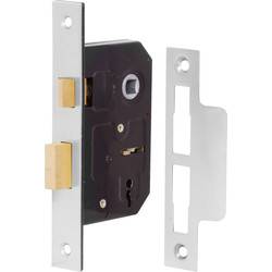 Eclipse Ironmongery 3 Lever Mortice Sashlock 64mm Nickel Plated - 53248 - from Toolstation