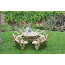 Forest Forest Garden Circular Picnic Table with Seat Backs 82cm (h) x 246cm (w) x 246cm (d) - 53253 - from Toolstation