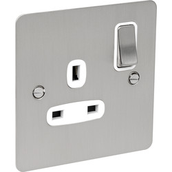 Flat Plate Satin Chrome 13A Socket 1 Gang DP - 53310 - from Toolstation