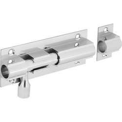 Chrome Door Bolt 102mm Straight Wide - 53399 - from Toolstation