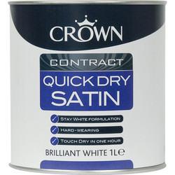 Crown Contract Crown Contract Quick Dry Satin Paint Brilliant White 1L - 53400 - from Toolstation