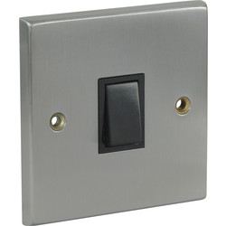 Satin Chrome / Black Switch 10A 1 Gang 2 Way - 53450 - from Toolstation