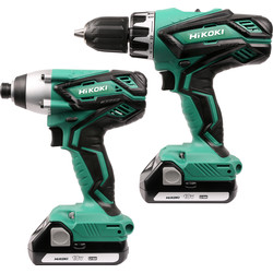 Hikoki Hikoki KC18DGL-JA 18V Li-Ion Cordless Combi Drill & Impact Driver Twin Pack 2 x 1.5Ah - 53487 - from Toolstation