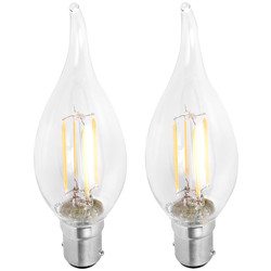 Meridian Lighting LED Filament Flame Tip Candle Lamp 4W SBC (B15d) 450lm - 53701 - from Toolstation