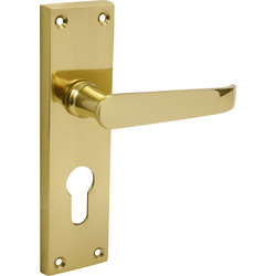 Victorian Straight Door Handles Euro Lock Brass - 53708 - from Toolstation