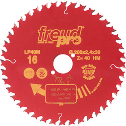 Freud Pro LP40M TCT Saw Blade for Cross Grain Cutting 184 x 16mm x 40T - 53878 - from Toolstation
