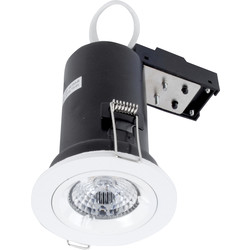 Meridian Lighting LED 9W Fire Rated Dimmable GU10 Downlight White 650lm - 54062 - from Toolstation