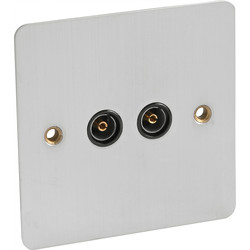 Flat Plate Satin Chrome TV Socket Outlet Twin - 54133 - from Toolstation