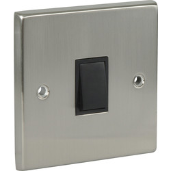 Satin Chrome / Black Double Pole Switch 20A - 54260 - from Toolstation