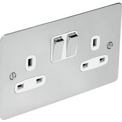 Flat Plate Polished Chrome 13A Socket 2 Gang DP - 54308 - from Toolstation