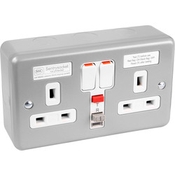MK MK Metal Clad 13A RCD Switched Socket 2 Gang 30mA Passive - 54607 - from Toolstation