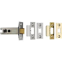 Eurospec Eurospec Heavy Sprung Tubular Latch 76mm - Brass / Satin Stainless Steel - 54678 - from Toolstation