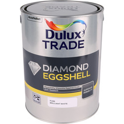 Dulux Trade Dulux Trade Diamond Eggshell Paint Pure Brilliant White 5L - 54770 - from Toolstation
