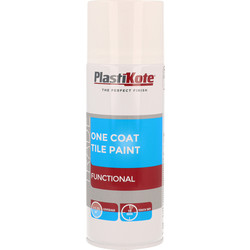 Plastikote Plastikote One Coat Tile Spray Paint 400ml White - 54854 - from Toolstation