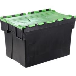 Barton Euro Container 77L with Attached Lid 600 x 400 x 400mm - Green Lid - 54935 - from Toolstation