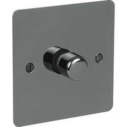 Axiom Flat Plate Black Nickel Dimmer Switch 400W 1 Gang 2 Way - 54970 - from Toolstation