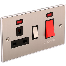 Urban Edge Urban Edge Brushed Chrome 45A DP Cooker Switch Switched Socket + Neon - 55207 - from Toolstation